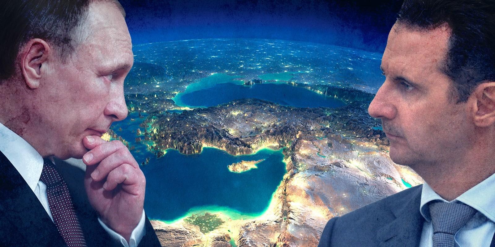 Assad and Putin middle east illustration