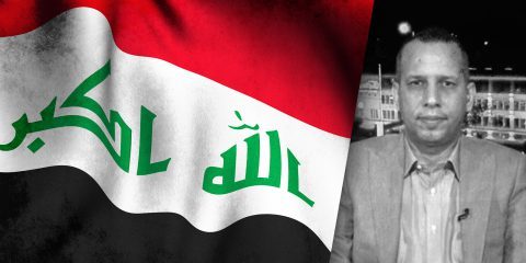 Hisham al-Hashimi and Iraq flag illustration