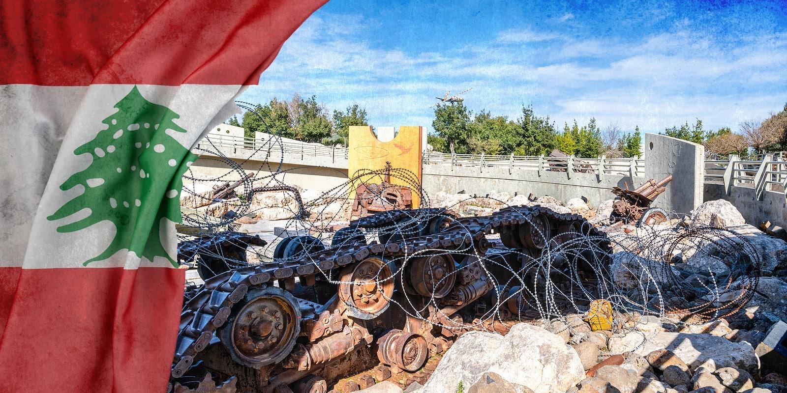 Hezbollah equipment and Lebanon flag illustration