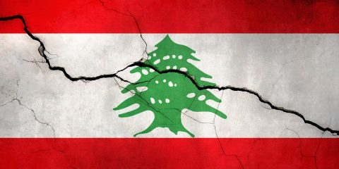 Lebanon flag broken illustration