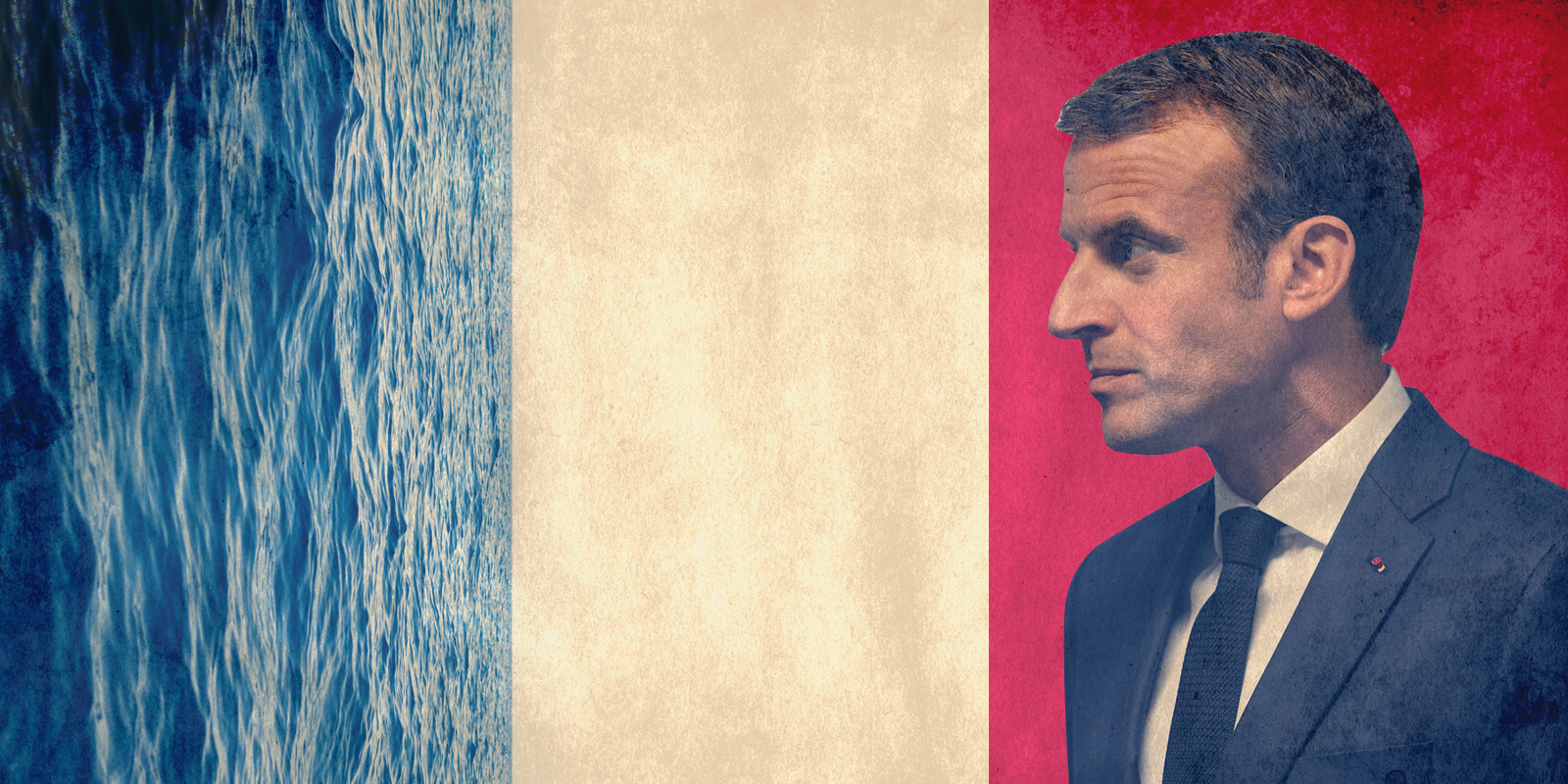Emmanuel Macron, mediterranean sea, French flag illustration