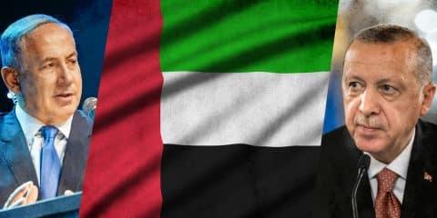 Netanyahu and Erdogan with UAE flag