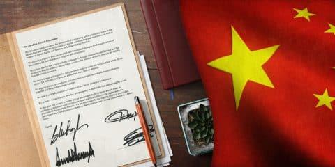 Abraham Accords and China Flag Illustration