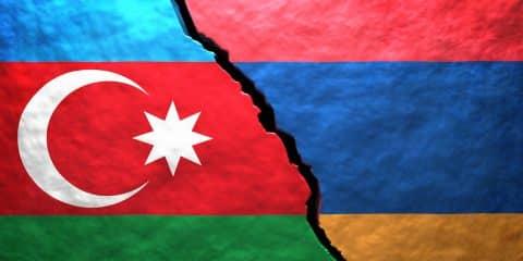 Azerbaijan Armenia flags illustration