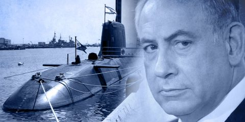 Benjamin Netanyahu and Submarine illustration