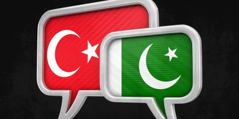 3d illustration. Speech bubbles with Turkey, Pakistan flags. Image with clipping path