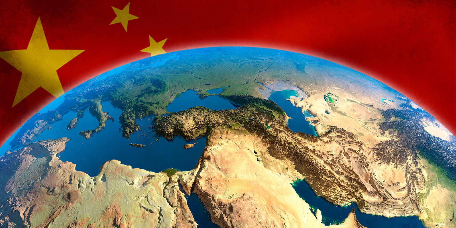Middle East view from satellites and china flag illustration