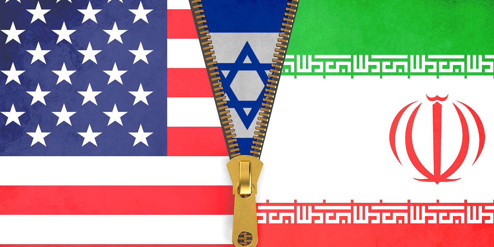 Flags of Iran, USA and Israel political concept