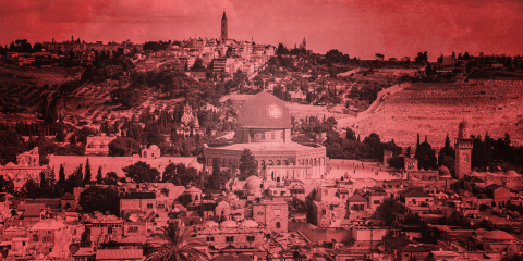 נוף של ירושלים בפילטר אדום
