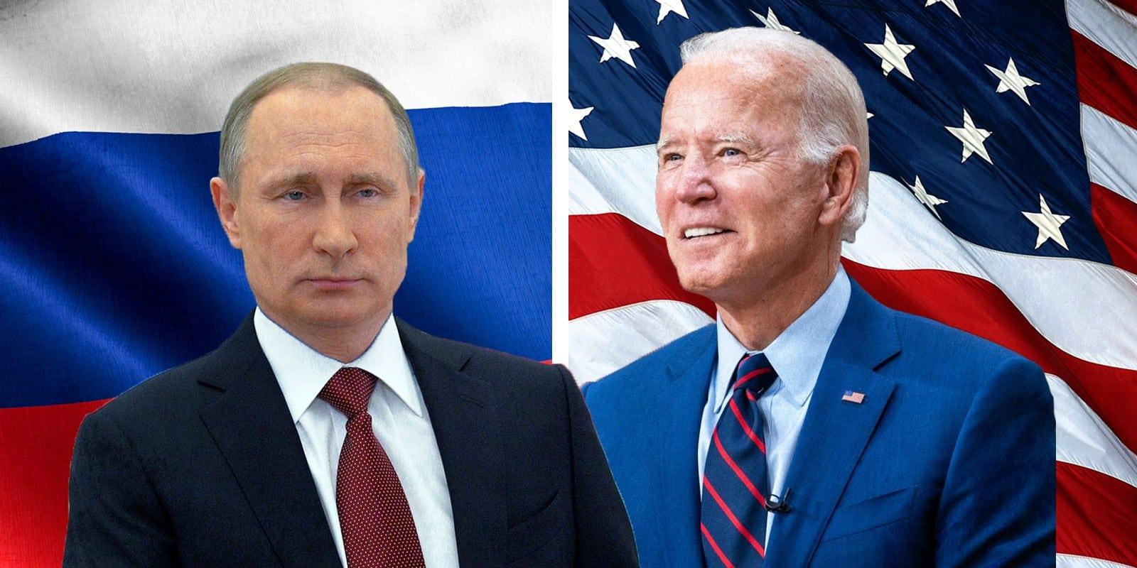 ביידן ופוטין, ברקע דגל אה״ב ודגל רוסיה