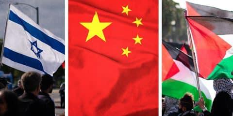 Israel, China, Palestine flag