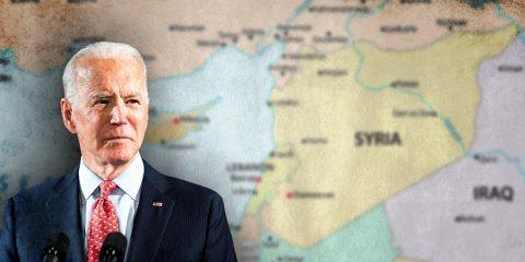 BIDEN WITH SYRIA MAPS BACKGROUND