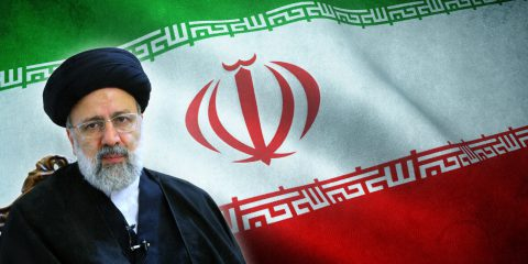 Ebrahim Raisi and iran flag