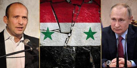 Putin, Bennett and Syria flag