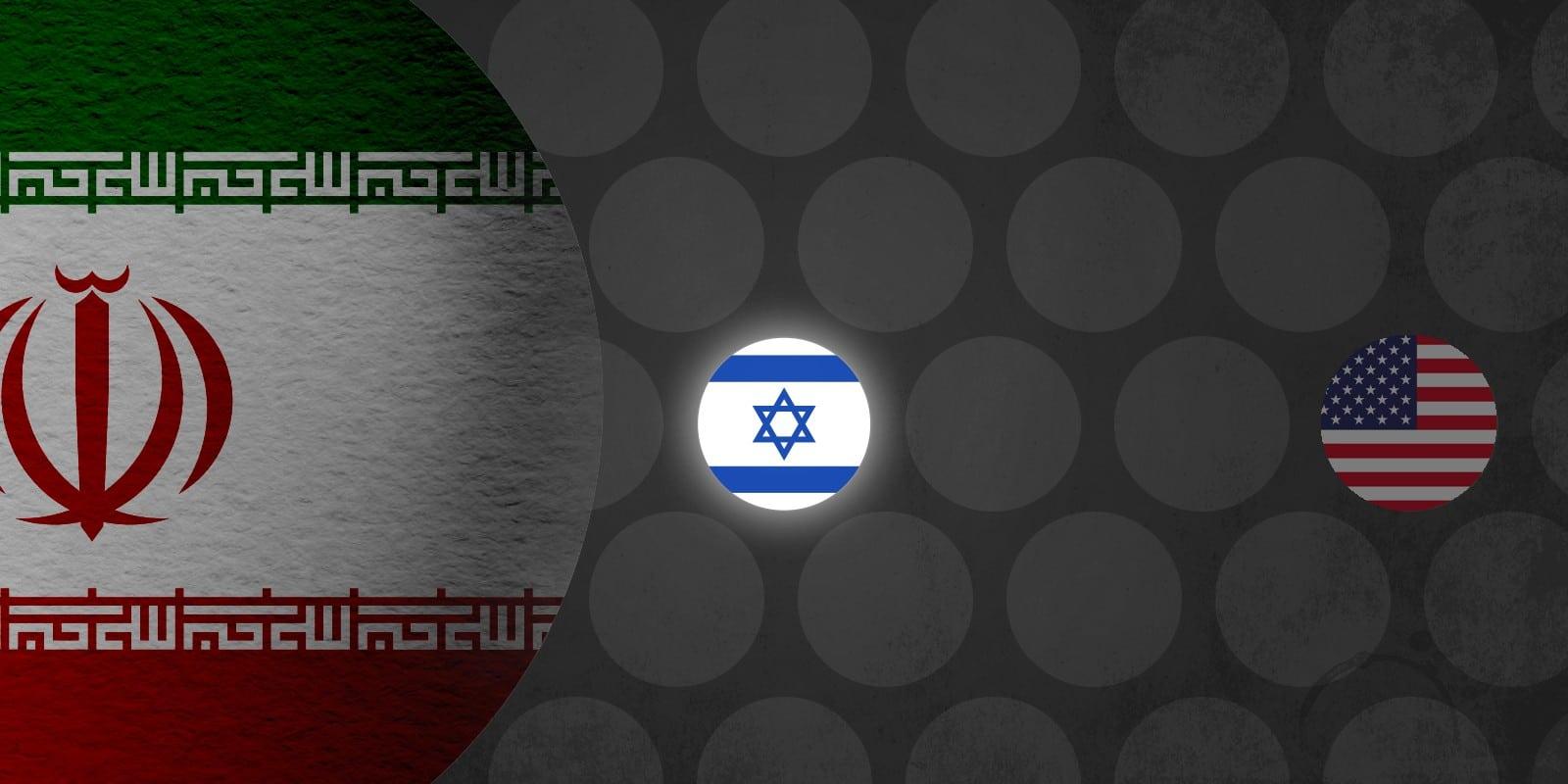 Iran, USA and Israel flags illustration