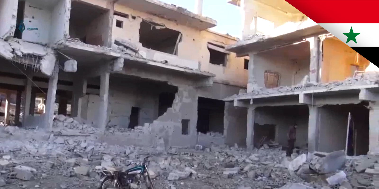 An area in the rebel-held al-Balad district of Daraa that has been destroyed by the Syrian government's artillery and air force during an offensive in June 2017.